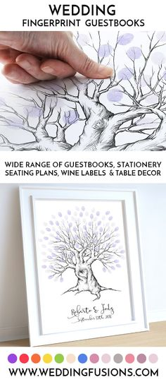 A wedding fingerprint tree makes a beautiful memento for the big day - a beautiful & unique keepsake to cherish forever. Guests will ink their thumbs and stamp distinctive thumb leaves around the hand drawn tree for a truly individual touch. Tree Wedding, Wedding Signs, Wedding Shit, Rustic Wedding, Wedding Guest Book Alternatives, Wedding Ideas, Wedding Inspiration, Budget Wedding, Wedding Styles