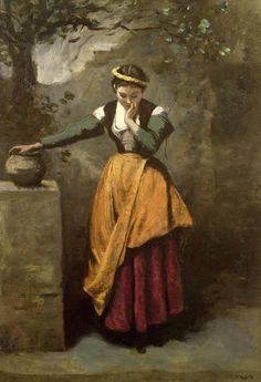 elespleendeparis:  Jean-Baptiste-Camille Corot:La rêveuse à la fontaine, 1860.