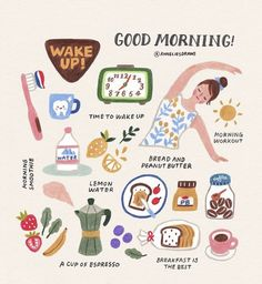 latest photo Health lifestyle illustration style recipe, Morning routines & :] What time do you wake up? Do you have any activities that you do every morning? I always start my day with a BIG . Vie Motivation, Self Care Activities, Self Improvement Tips, Self Care Routine, Cute Illustration, Better Life, Self Help, Happy Life, Happy Heart