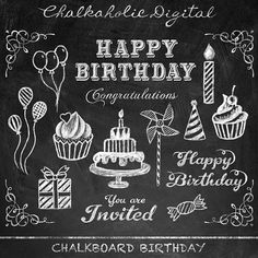 Chalkboard Clip Art Birthday Digital Instant Download Personal And Small Commercial Use