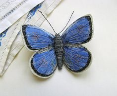 Embroidered butterfly brooch, 'Holly Blue'.