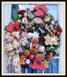 Adorable gingerbread wreaths, Santa wreaths, candy wreaths,  beautiful Christmas wreaths, and festive holiday wreaths by Petal Pusher's Wreaths & Designs.