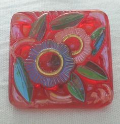 Square Art Deco Style Czech Glass Button by MostlyButtons on Etsy, $5.00