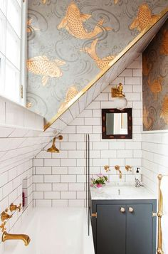 Bathroom Before & After Metro tiles brass taps and Osborne & Little koi carp fish wallpaper in The Pink House bathroom The post Bathroom Before & After appeared first on Architecture Diy. Decoration Inspiration, Bathroom Inspiration, Interior Inspiration, Decor Ideas, Sunday Inspiration, 2017 Inspiration, Design Inspiration, Tiny Bathrooms, Beautiful Bathrooms