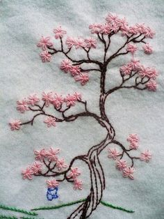 Japanese Embroidery Flowers I love this. Too bad I don't know how to embroidery. Beautiful cherry blossom - This is my favorite work so far! And its for a swap too! Silk Ribbon Embroidery, Crewel Embroidery, Hand Embroidery Patterns, Cross Stitch Embroidery, Machine Embroidery, Embroidery Books, Embroidery Supplies, Embroidered Silk, Embroidery Scissors