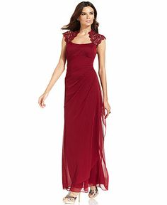 Xscape Strapless Dress   Products Xscape Sleeveless Metallic Lace Gown   Dresses   Women   Macy s