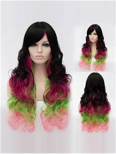 30 Inch Capless Wavy Mixed Color Synthetic Hair Long Costume Wigs