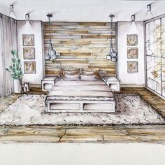 Bedroom Sketch | Drawing designs, Sketches and Drawings