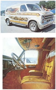 Custom Vans, the rolling room, the king of the road, the shaggin wagon. Van sitings are getting fewer and far between. Custom Van Interior, Diesel Fashion, Old School Vans, Cool Vans, Custom Vans, Car Painting, Ford Trucks, Mopar, Cars And Motorcycles