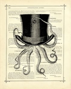 Octopus wearing a Top Hat