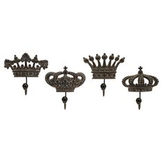 Set of 4 metal and porcelain wall hooks with regal crown designs.       Product: 2 Small and 2 large wall hooks     ...