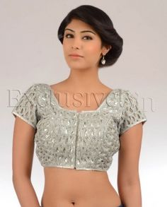 #Exclusivelyin, #IndianEthnicWear, #IndianWear, #Fashion, Silver Cut Out Work Sari Blouse