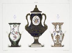 Vase fond bleu caillouté et culots verts: Fleurs par Tandart (Collection de Mlle Grandjean); Vase a mascarons (Collection de M. le baron Alphonse de Rothschild); Vase rose a guirlandes. Fab de 1757. - Fleurs par Levé (Collection de Mlle Grandjean).