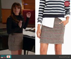 Rachel's houndstooth skirt on Glee. Outfit Details: http://wornontv.net/43411/ #Glee