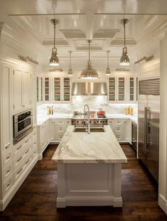 Coffered Kitchen Ceiling - Transitional - kitchen - The Renovated Home Transitional Kitchen, Transitional Decor, Custom Kitchens, Cool Kitchens, White Cabinets, Kitchen Cabinets, Kitchen Benchtops, Floors Kitchen, Upper Cabinets