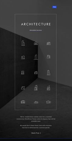 Minimal Architecture Line Icon Pack PSD set includes 15 minimal icons featuring sleek, modern design which is great to use in your web design or applications. These icons are best for architecture or real estate projects. Architecture Symbols, Minimal Architecture, Architecture Portfolio, Architecture Diagrams, Landscape Architecture, Sketch Architecture, Conceptual Architecture, Icon Design, Ui Design