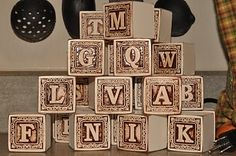 Cool wooden blocks (looks like the letters were burned into the wood, but it wasn't!)