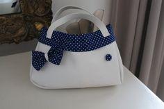Handtasche - Rockabilly Handtasche weiß/blau Dots - ein Designerstück von Land-Juwelen bei DaWanda