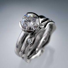 Handmade Moissanite Half Bezel Engagement Ring & Wave Wedding Band Bridal Set   Nodeform