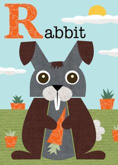 Letter R rabbit by JennSki on Etsy, $14.00