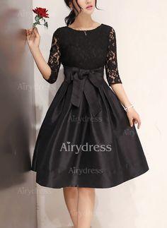 Dress - $19.14 - Solid Lace Wrap Knee-Length A-line Dress (1955231274)