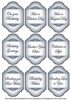 Blue Birthday Fancy Sentiment Caption Labels on Craftsuprint - Add To Basket!