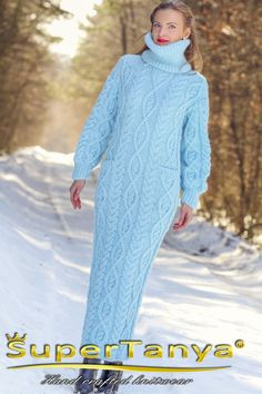 """supertanya-mohair-sweaters: """" Hand knitted blue mohair wool long dress by SuperTanya Made to Order Outstanding blue long dress by SuperTanya """" Wool Dress, Knit Dress, Sweater Dresses, Sweater Outfits, Winter Gowns, Gros Pull Mohair, Extreme Knitting, Icelandic Sweaters, Knit Fashion"""