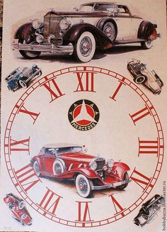 car on clock face Paper Clock, Clock Art, Diy Clock, Vintage Images, Vintage Posters, Clock Face Printable, Clock Template, Handmade Clocks, Diy Crafts How To Make