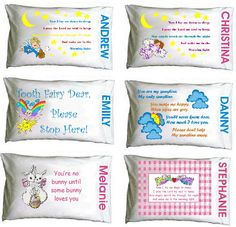 Personalized Pillowcases - $30.00  A pillow for every occasion.  Toothfairy Dear Please Stop Here Now I Lay Me Down You're No Bunny  and many more. Can create a design especially for your special child, including sports pillows for your favorite team.