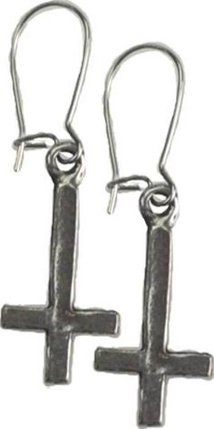 INVERTED CROSS EARRINGS WITH HOOKED WIRE 32 x 10 mm Wicca Witch Pagan Goth