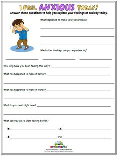 Therapeutic worksheets focused on helping kids and teens explore feelings of anxiety. Tools assist kids in identifying anxiety triggers, healthy coping skills, and positive ways to relieve stress. Anxiety Activities, Therapy Worksheets, Counseling Activities, Therapy Activities, Play Therapy, Kids Mental Health, School Social Work, Anxiety Treatment, Mental Health