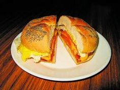 Pork roll, egg and cheese with ketchup on a bun. A New Jersey classic!