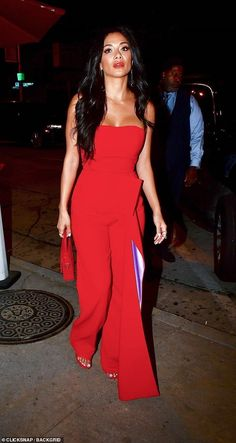 Strutting her stuff: The sash at the waist hit the floor in length and featured a mauve si. Red Jumpsuit, Nicole Scherzinger, Sash, Wide Leg, Celebs, Mauve, Fabrics, Floor, Patterns