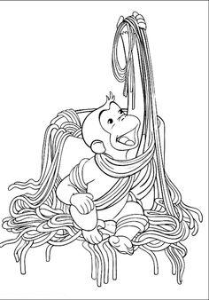 George Eats Noodles Coloring Pages