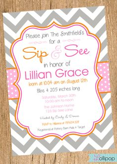 Girl Sip and See Shower Printable Invitation