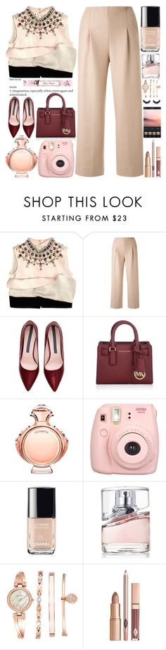 """Silk-satin and Crepe Top"" by grozdana-v ❤ liked on Polyvore featuring Marni, Chalayan, Michael Kors, Paco Rabanne, Fujifilm, Chanel, HUGO and Anne Klein"