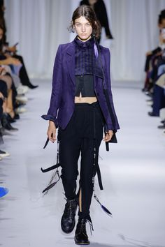 purple blazer and straps and beads attached to black pants by Ann Demeulemeester 2017