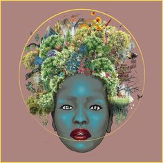 A 60x60cm hand glossed giclee print made from over 300 individually cut pieces of wallpaper samples. #collage #scifiart #futuratticroots #afro
