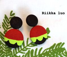 Cover button stud earrings + lime, red and dark brown Marimekko design fabric, inspired Marimekko, Covered Buttons, Fabric Design, Dark Brown, Lime, Stud Earrings, Inspired, Etsy, Inspiration