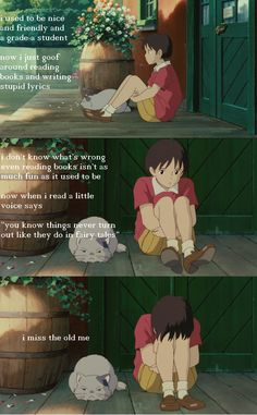 Whisper Of The Heart Studio Ghibli Quotes, Studio Ghibli Art, Studio Ghibli Movies, Manga Anime, Anime Guys, Anime Art, Cartoon Quotes, Film Studio, Character Design Animation