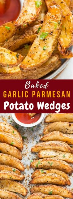 Garlic Parmesan Baked Potato Wedges sooo delicious. Reminds me of the kind you get in KFC but only much better than KFC wedges. Perfectly seasoned, baked in oven for less guilt snacking. Wedges turns out truly crispy on the outside and so tender on the inside. So, so, so good! #potatowedges #bakedpotatowedges #gamedayappetizers #appetizers #snacks #garlicpotatowedges #cripsypotatowedges #gamedayrecipes