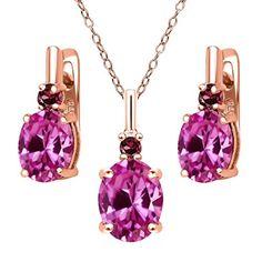 7.29 Ct Pink Created Sapphire Red Rhodolite Garnet 18K Rose Gold Plated Silver Pendant Earrings Set
