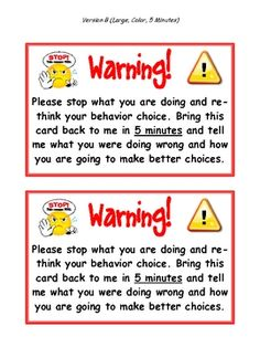 This is a link to print out warning Cards.  This gives students time to reflect on their behavior and cool down before discussing it with the teacher.  @Emmeretta Russey