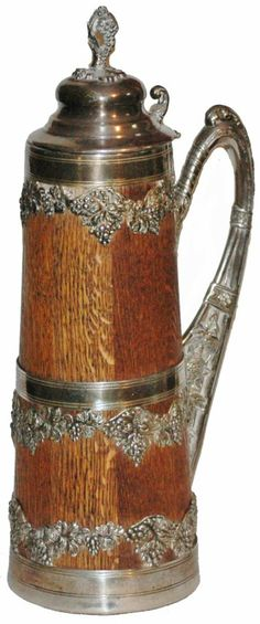 Louis Wood & Silver Plate Oak and floral silver plate overlay. Old Beer Cans, Mugs And Jugs, German Beer Steins, Beer Mugs, Wine And Beer, Wine And Spirits, Home Brewing, Craft Beer, Antique Silver