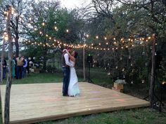Rustic wooden dance floor made with cedar slats