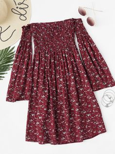 Off Shoulder Bell Sleeve Calico Print Dress - Off Shoulder Bell Sleeve Calico Print DressFor Women-romwe - Girls Fashion Clothes, Teen Fashion Outfits, Mode Outfits, Dress Outfits, Girl Fashion, Girl Outfits, Fashion Dresses, Fashion Ideas, Cute Casual Outfits