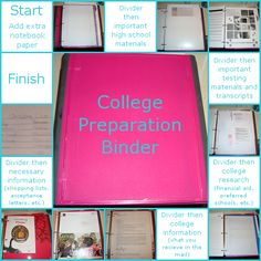 The Craft House: How To: College Preparation Binder Binder School, College Binder, College Organization, Binder Organization, College Information, Senior Year Of High School, College Search, College Planning, Gymnasium