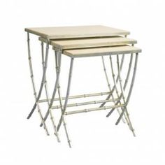 LA96323-01 Finch Bamboo Nesting Tables W 24 D 17 H 25 Lillian August Fine Furnishings #1Foot #2Foot Rectangle