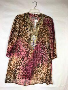 cabaa5893712ec Chico's NWT Womens Animal print Kaikoura Tunic Top Sz 1 S Beaded Sheer Silk  85 #Chicos #Blouse #Casual