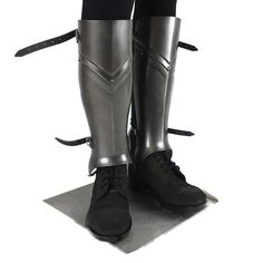 Polyurethane resin medieval fluted stylel larp leg armor suitable for LARP, TV, cosplay, theatre and Film Larp Armor, Medieval Armor, Headless Horseman, Armour, Pairs, Heels, Boots, Leather, How To Wear